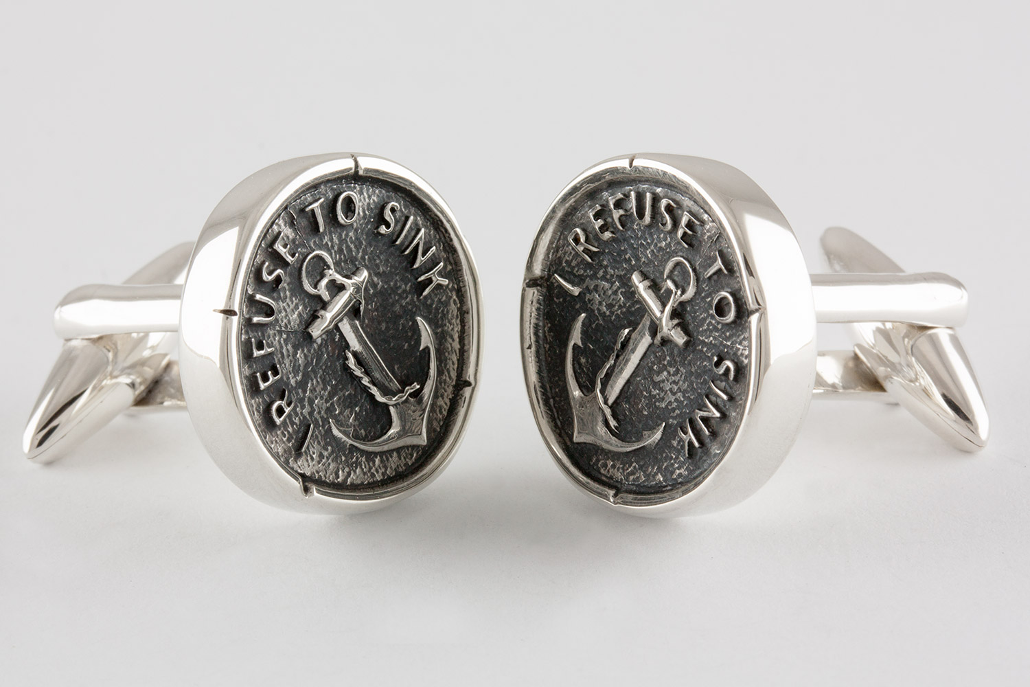 Sterling Silver Anchor Cuff Links