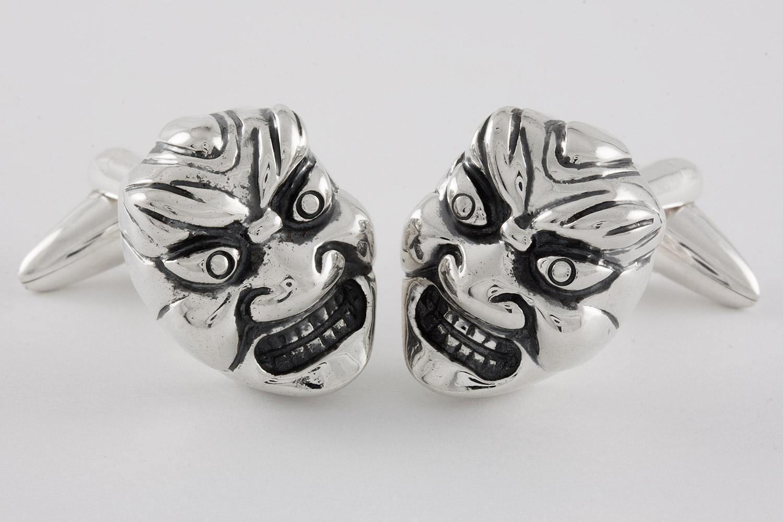 japanische masken manschettenkn pfe handgefertigt aus. Black Bedroom Furniture Sets. Home Design Ideas